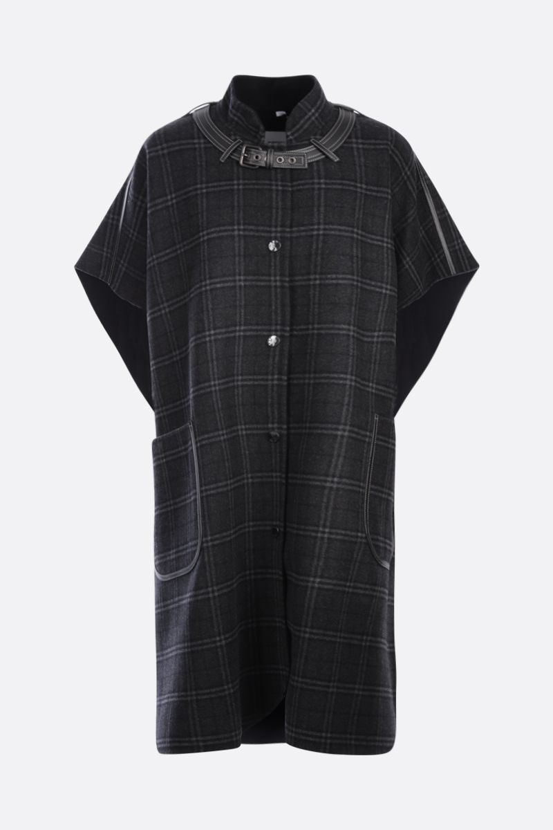 BURBERRY: check wool cashmere blend cape Color Green_1