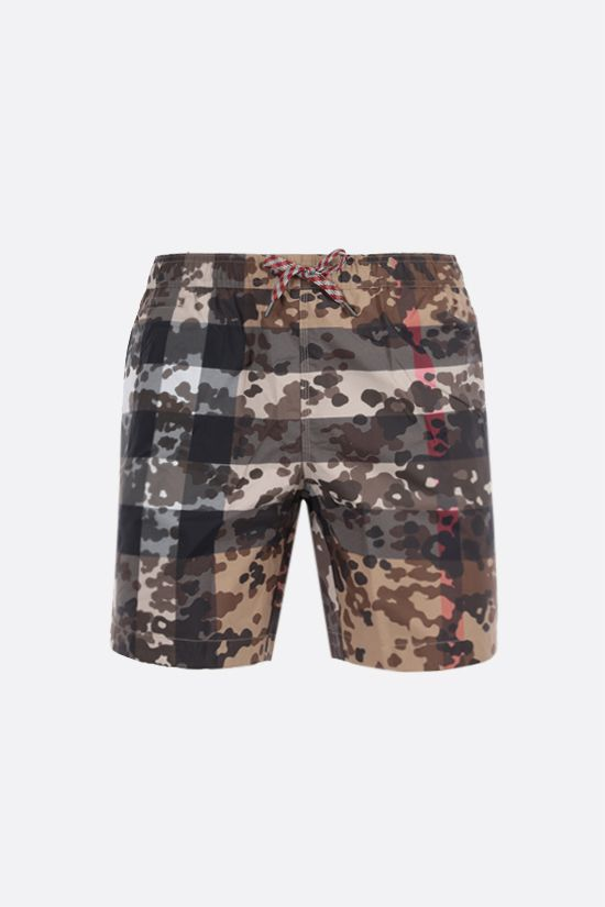 BURBERRY: Martin printed nylon swim shorts Color Neutral_1