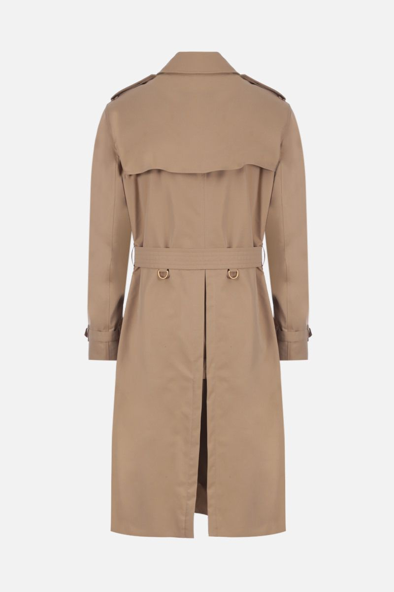 BURBERRY: Kensington Long gabardine double-breasted trench coat Color Yellow_2