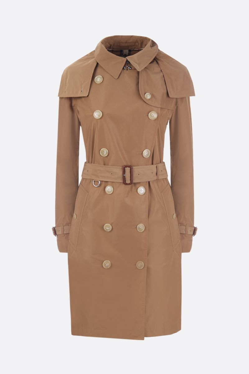 BURBERRY: Kensington technical fabric double-breasted trench coat Color Neutral_1