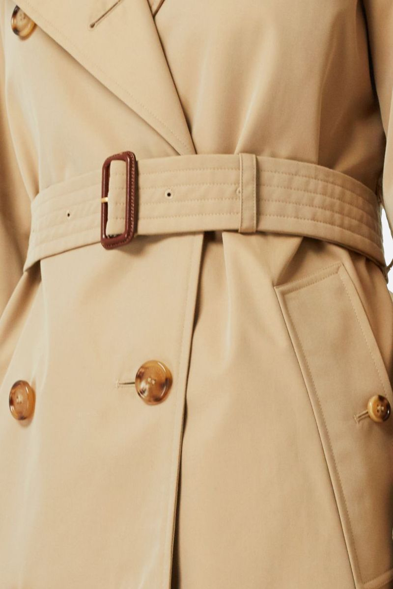 BURBERRY: The Waterloo cotton long double-breasted trench coat Color Yellow_2