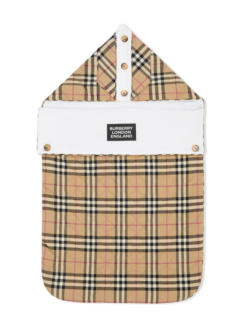 BURBERRY CHILDREN: Vintage check cotton qulted baby nest Color Brown_1