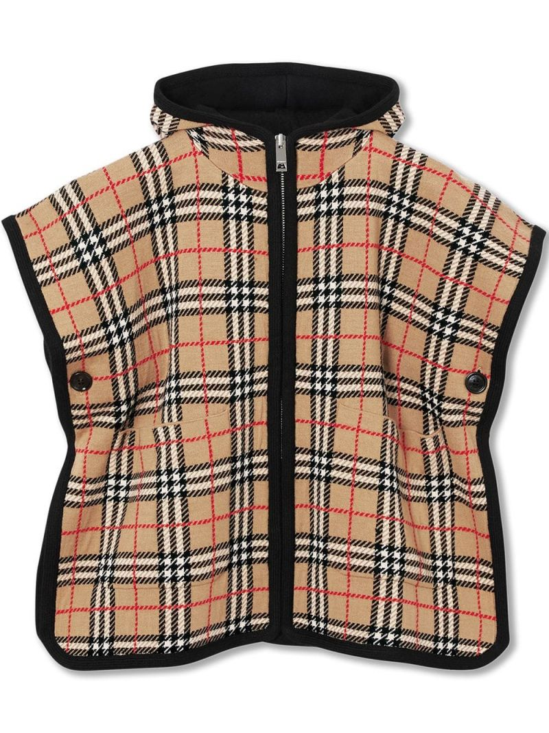 BURBERRY CHILDREN: Vintage check wool hooded poncho Color Neutral_1