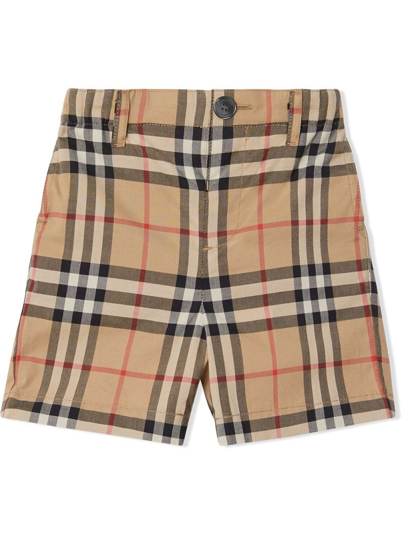 BURBERRY CHILDREN: Vintage check cotton shorts_1
