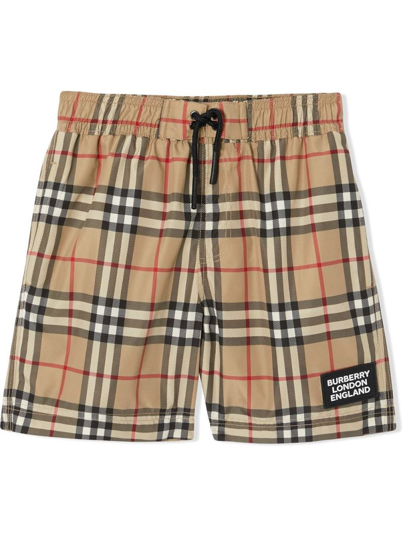 BURBERRY CHILDREN: Vintage check nylon swim shorts Color Neutral_1