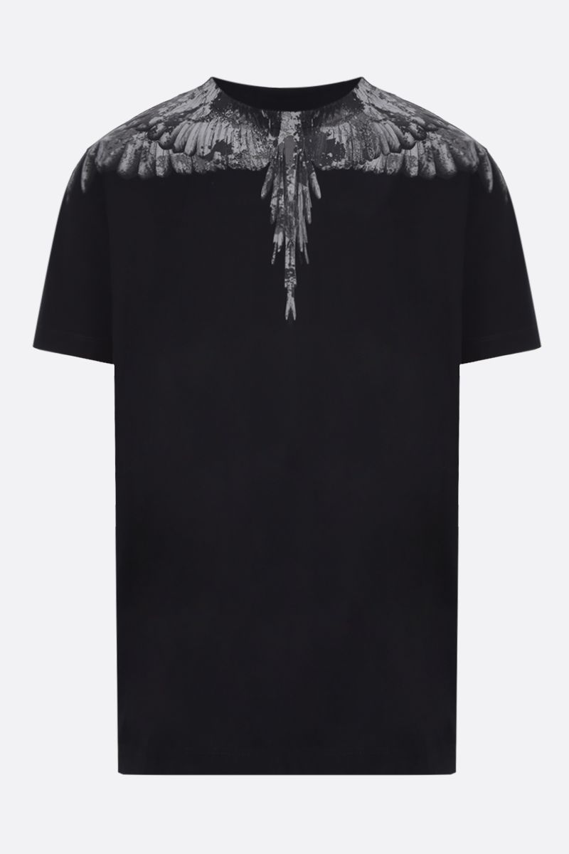 MARCELO BURLON COUNTY OF MILAN: t-shirt in cotone stampa Camou Wings Colore Nero_1