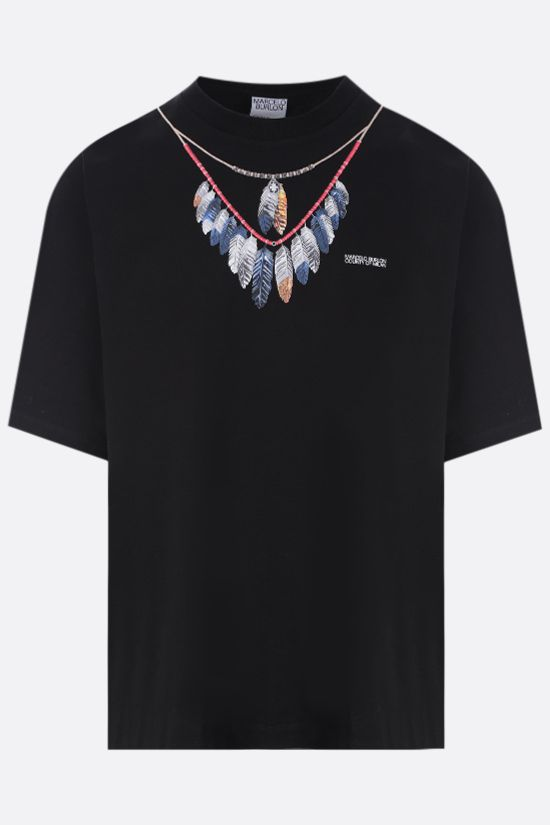 MARCELO BURLON COUNTY OF MILAN: t-shirt oversize Double Chain Feathers in cotone Colore Nero_1