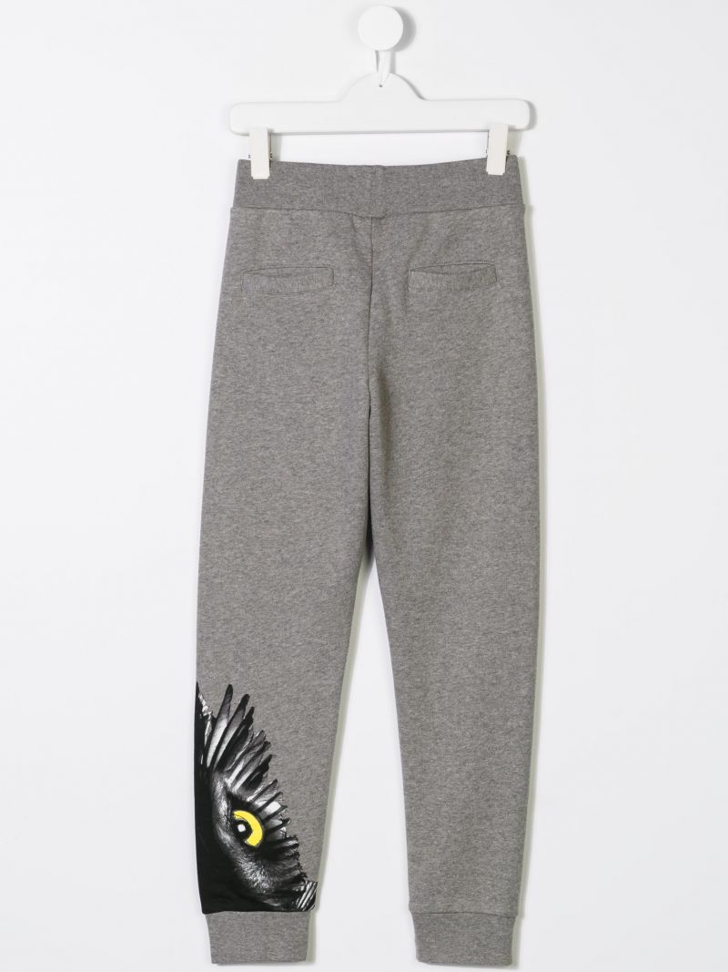 MARCELO BURLON KIDS OF MILAN: Owl print sweat joggers Color Grey_2