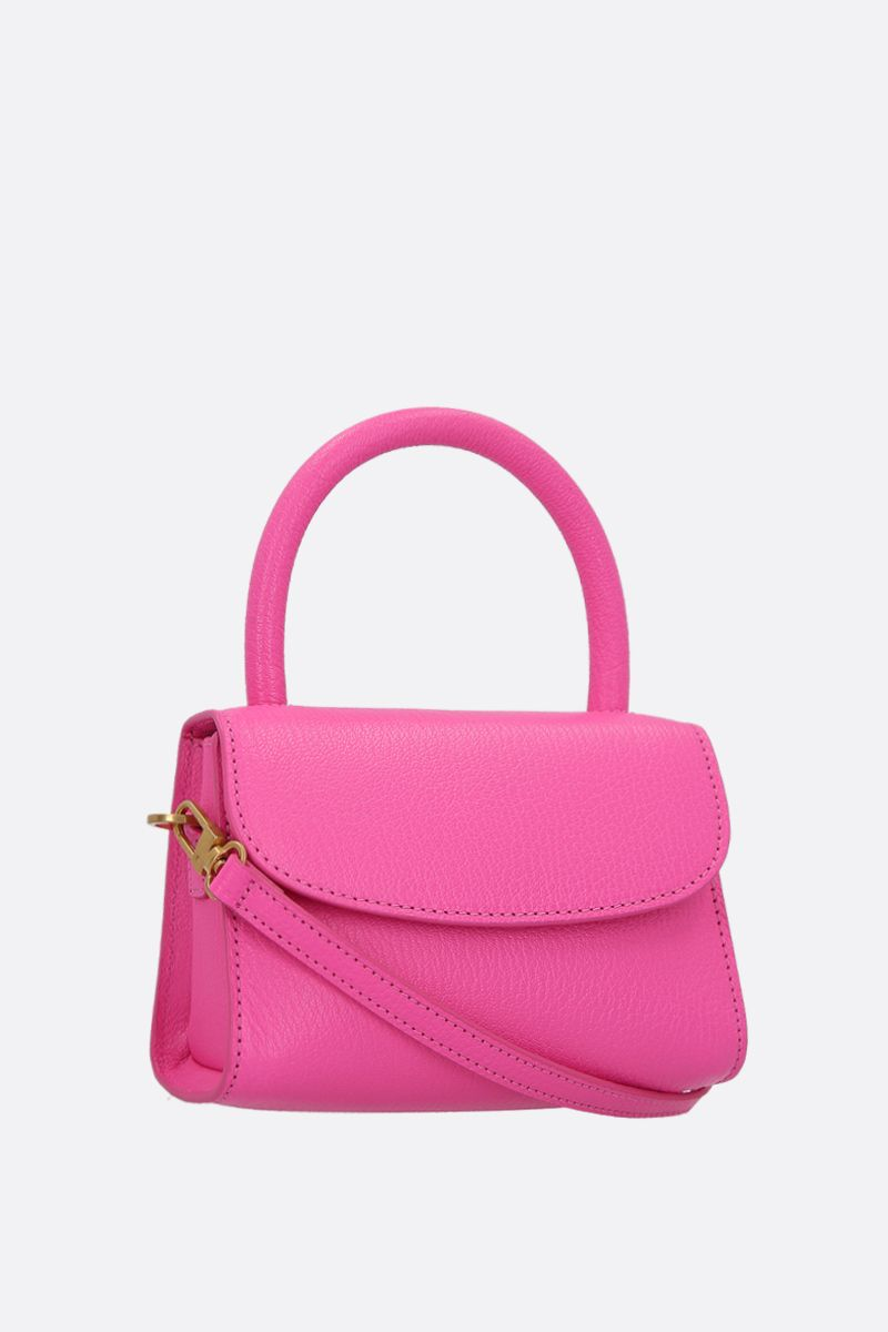BY FAR: grainy leather mini handbag Color Pink_2