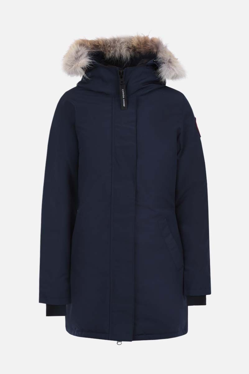 CANADA GOOSE: Victoria technical canvas padded parka coat Color Blue_1