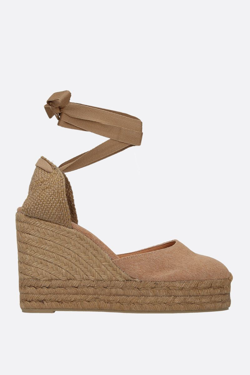 CASTANER: Carina wedge espadrilles in canvas and jute Color Brown_1