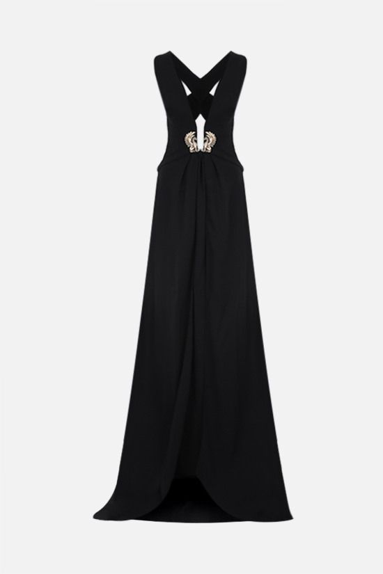 ROBERTO CAVALLI: emblem-detailed cady evening gown Color Black_1