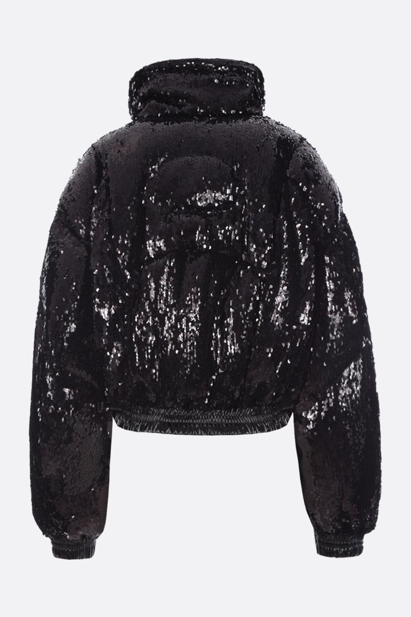CHEN PENG: oversized short down jacket in sequinned fabric Color Black_2