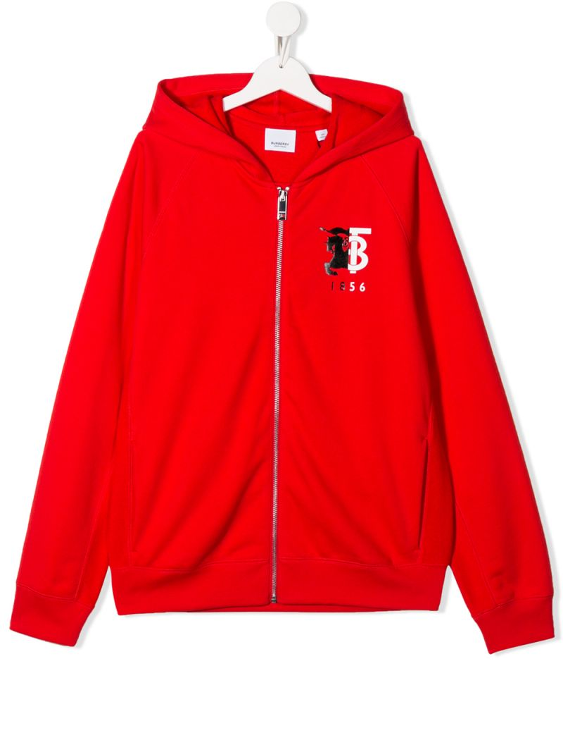 BURBERRY CHILDREN: graphic logo print cotton full-zip hoodie_1