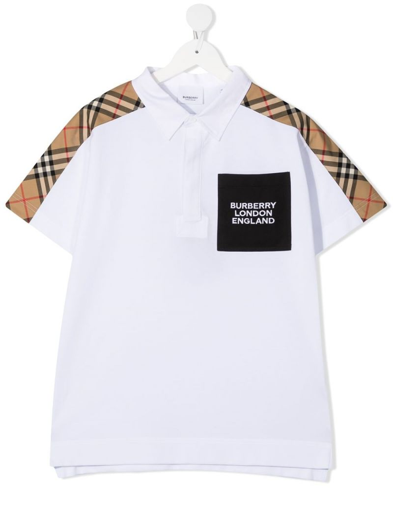 BURBERRY CHILDREN: Vintage check-detailed cotton polo shirt Color White_1