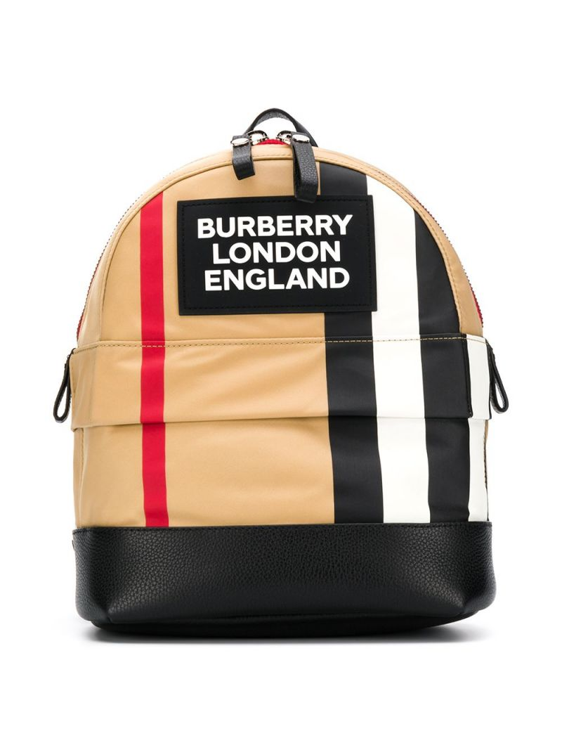 BURBERRY CHILDREN: Icon Stripe motif ECONYL® backpack Color Brown_1