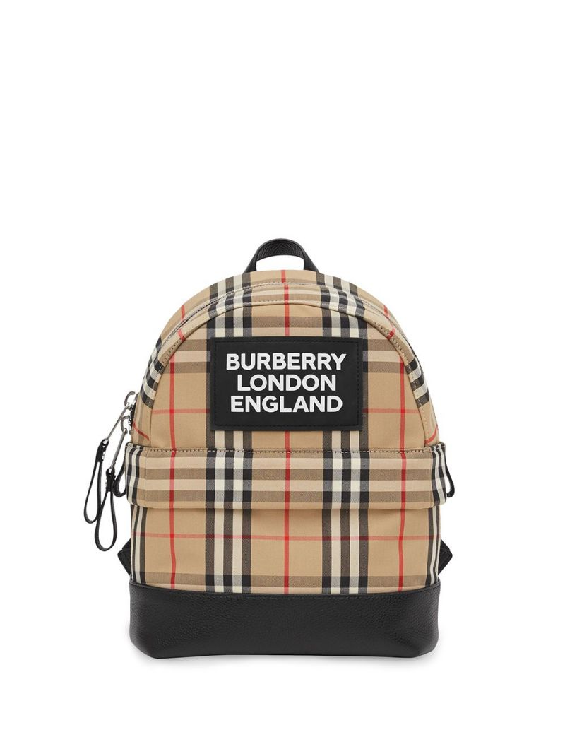 BURBERRY CHILDREN: Vintage check ECONYL® backpack Color Brown_1