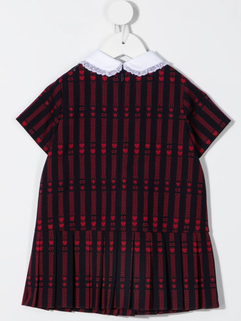 GUCCI CHILDREN: GG star cotton dress with embroidery Color Blue_2