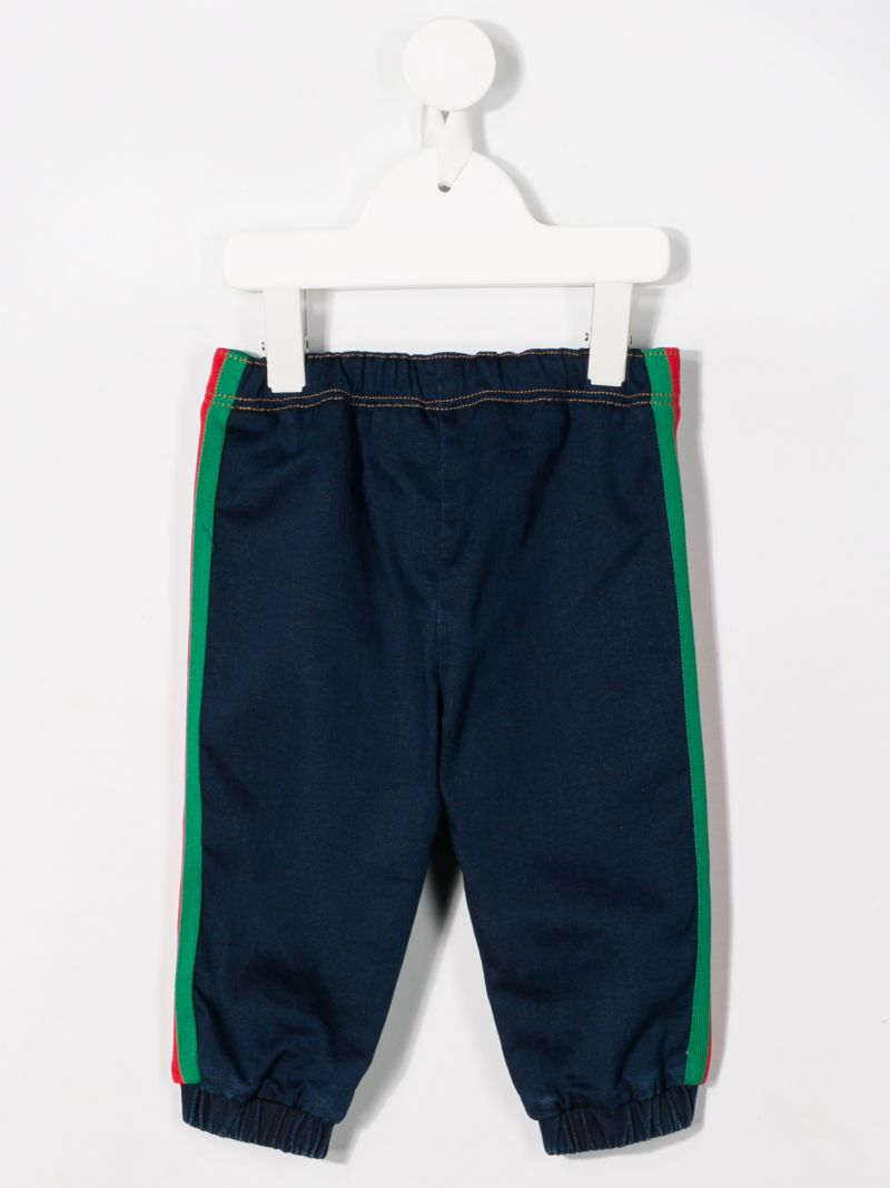 GUCCI CHILDREN: denim joggers with Web bands Color Blue_2