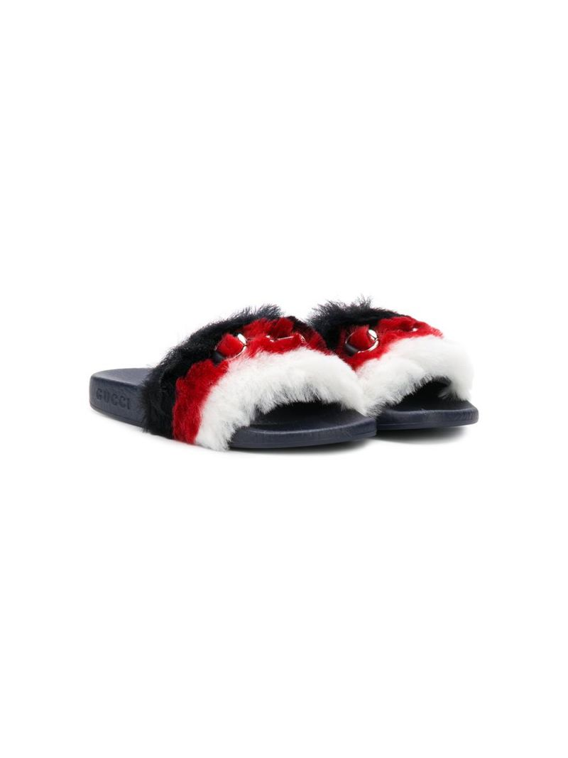 GUCCI CHILDREN: faux fur slides with Horsebit Color Multicolor_1