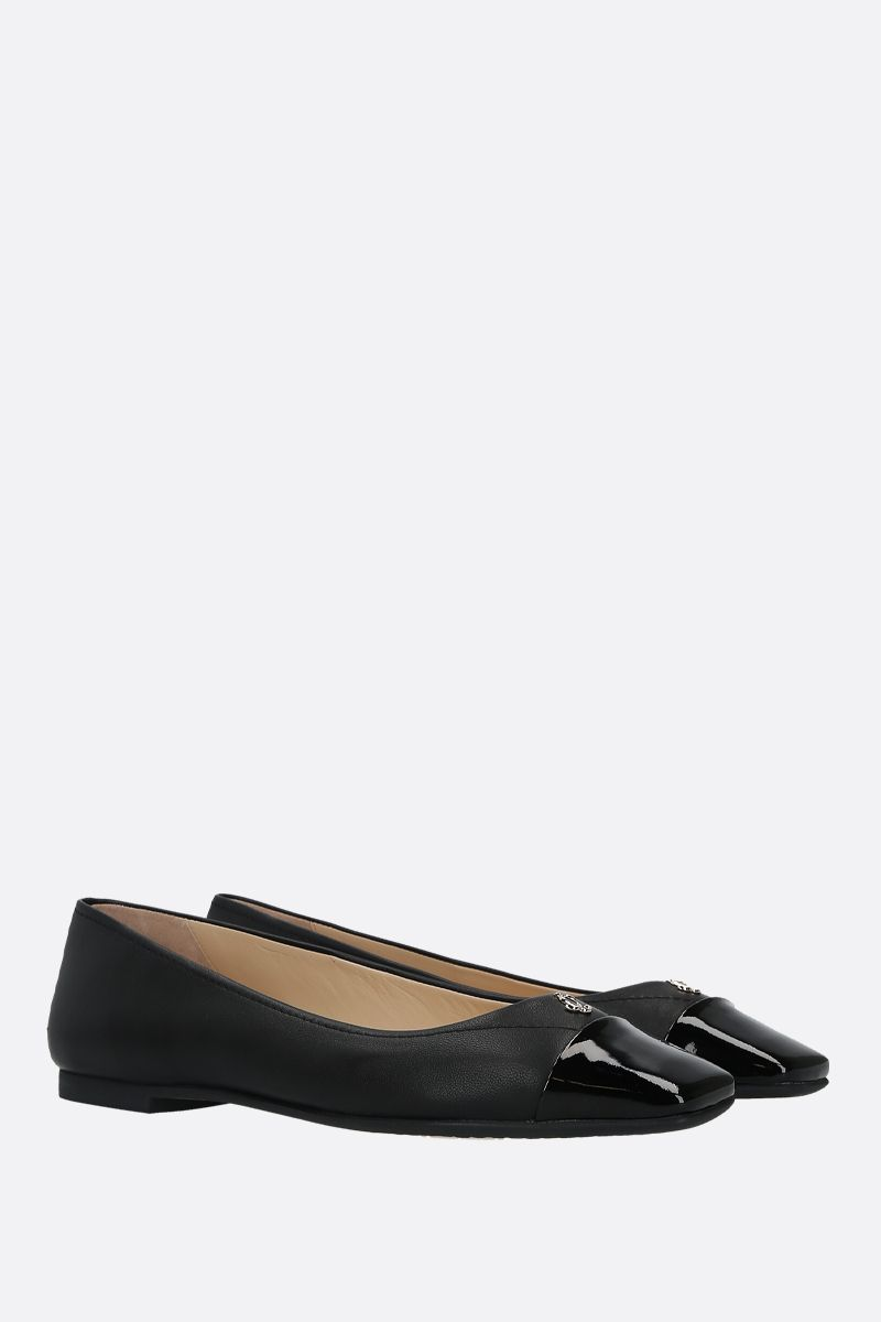 JIMMY CHOO: Gisela nappa and patent leather ballerinas Color Black_2
