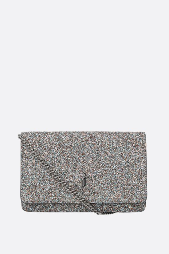 JIMMY CHOO: clutch con catena Palace in tessuto glitter Colore Argento_1