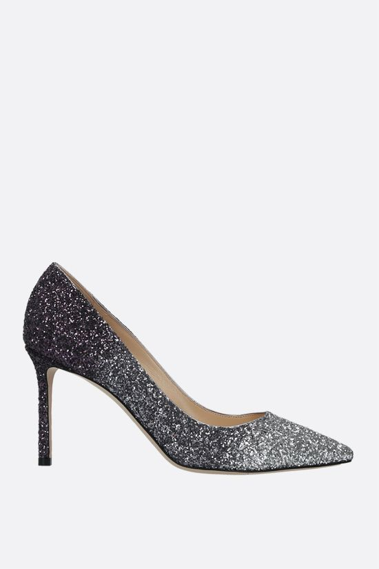 JIMMY CHOO: Romy glitter fabric pumps Color Silver_1