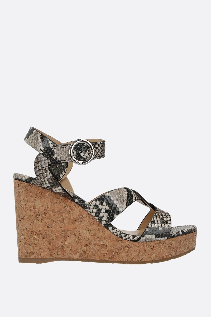 JIMMY CHOO: Aleili wedge sandals in python embossed leather Color Neutral_1