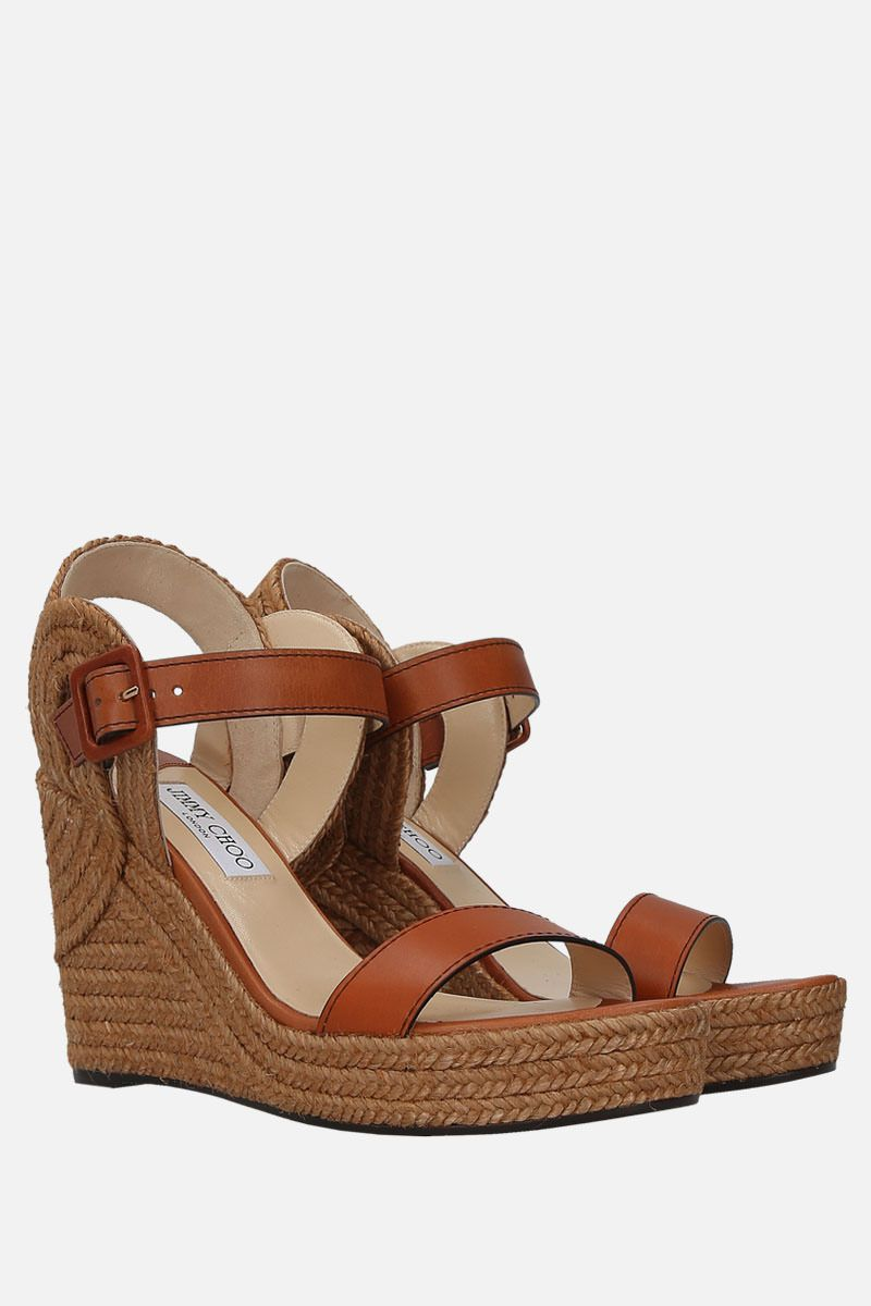 JIMMY CHOO: Delphi wedge sandals in smooth leather Color Brown_2
