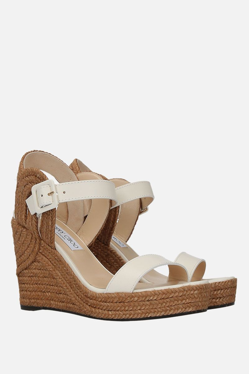 JIMMY CHOO: Delphi wedge sandals in smooth leather Color White_2