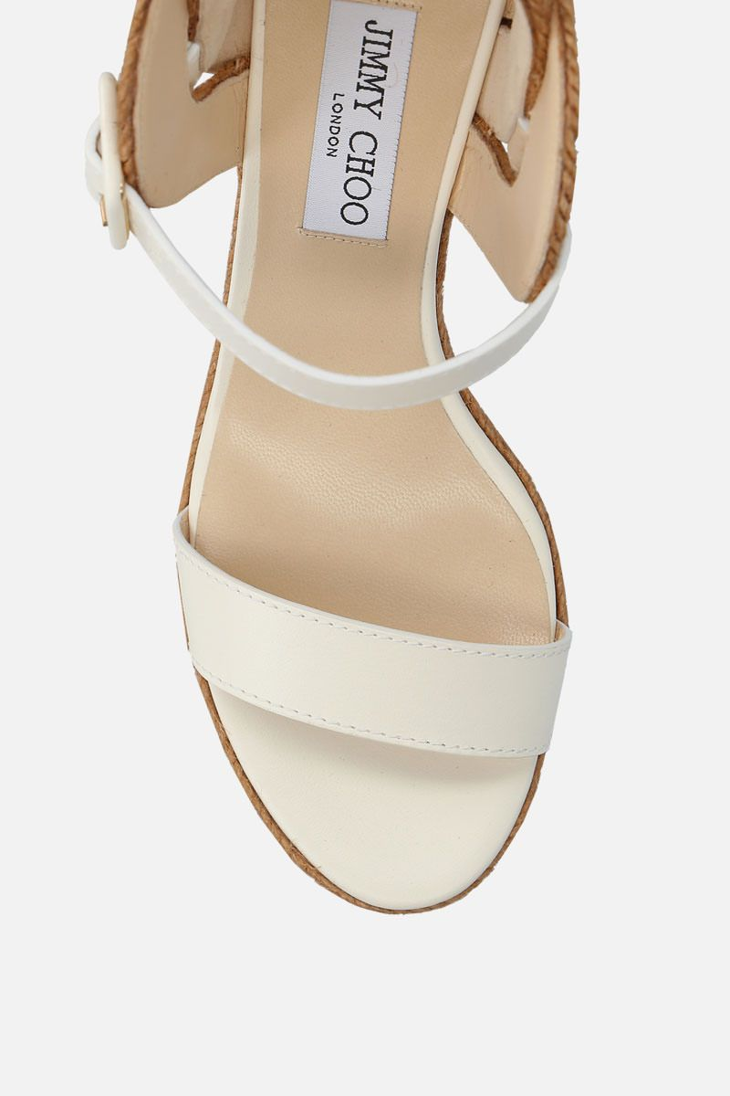 JIMMY CHOO: Delphi wedge sandals in smooth leather Color White_4