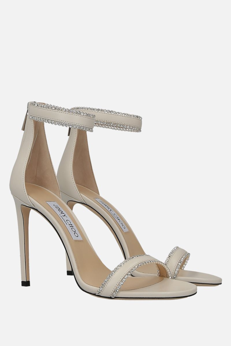 JIMMY CHOO: Dochas sandals in soft nappa Color White_2