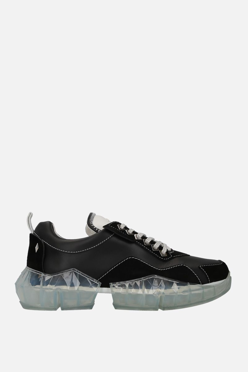 JIMMY CHOO: Diamond/M sneakers in smooth leather and suede Color Black_1
