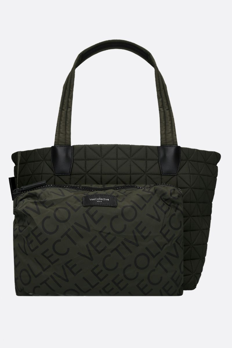 VEE COLLECTIVE: borsa tote Vee media in nylon Ripstop Colore Verde_1