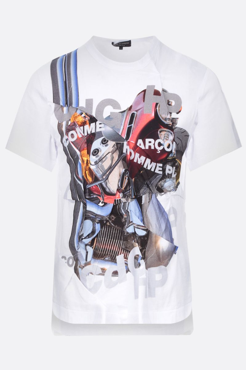 COMME des GARCONS HOMME PLUS: t-shirt in cotone stampa grafica Colore White_1