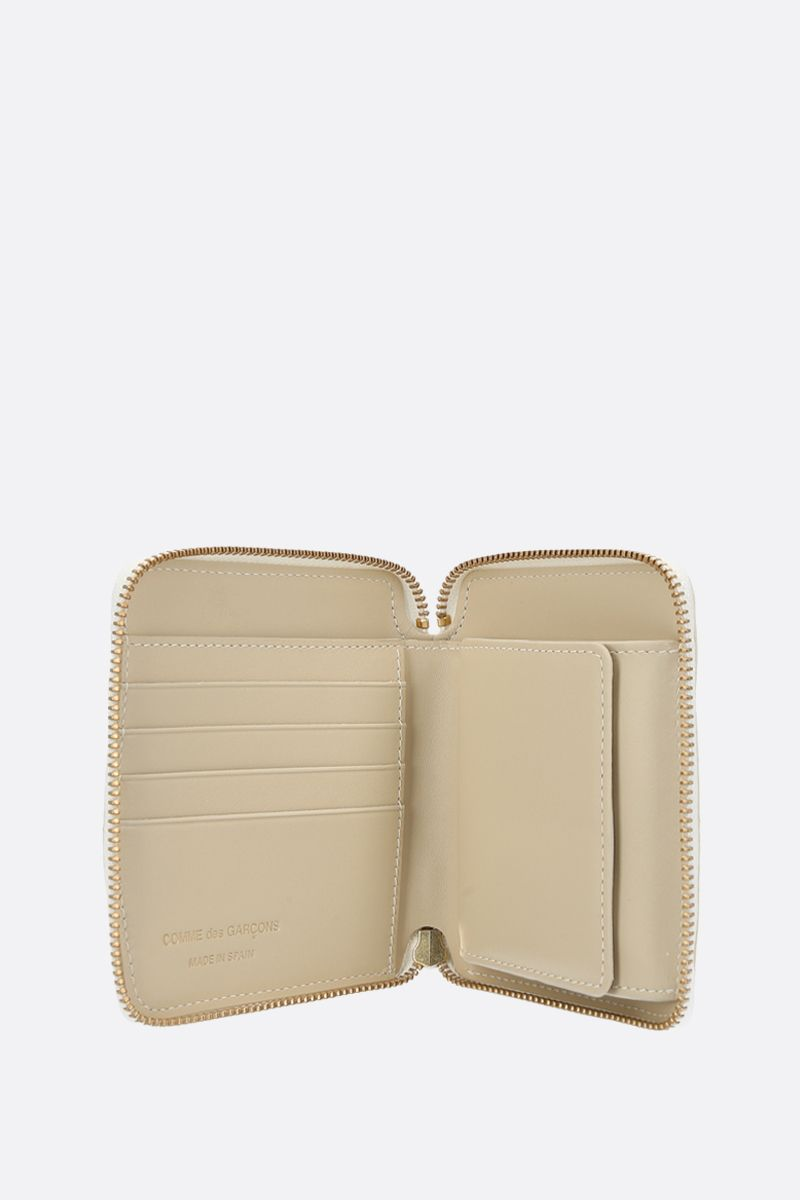 COMME des GARCONS WALLET: smooth leather small zip-around wallet Color White_2