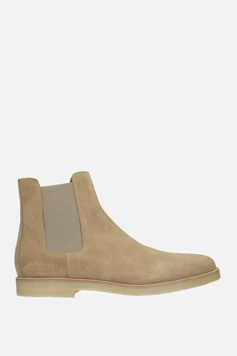 COMMON PROJECTS: stivaletto chelsea in morbido suede Colore Marrone_1