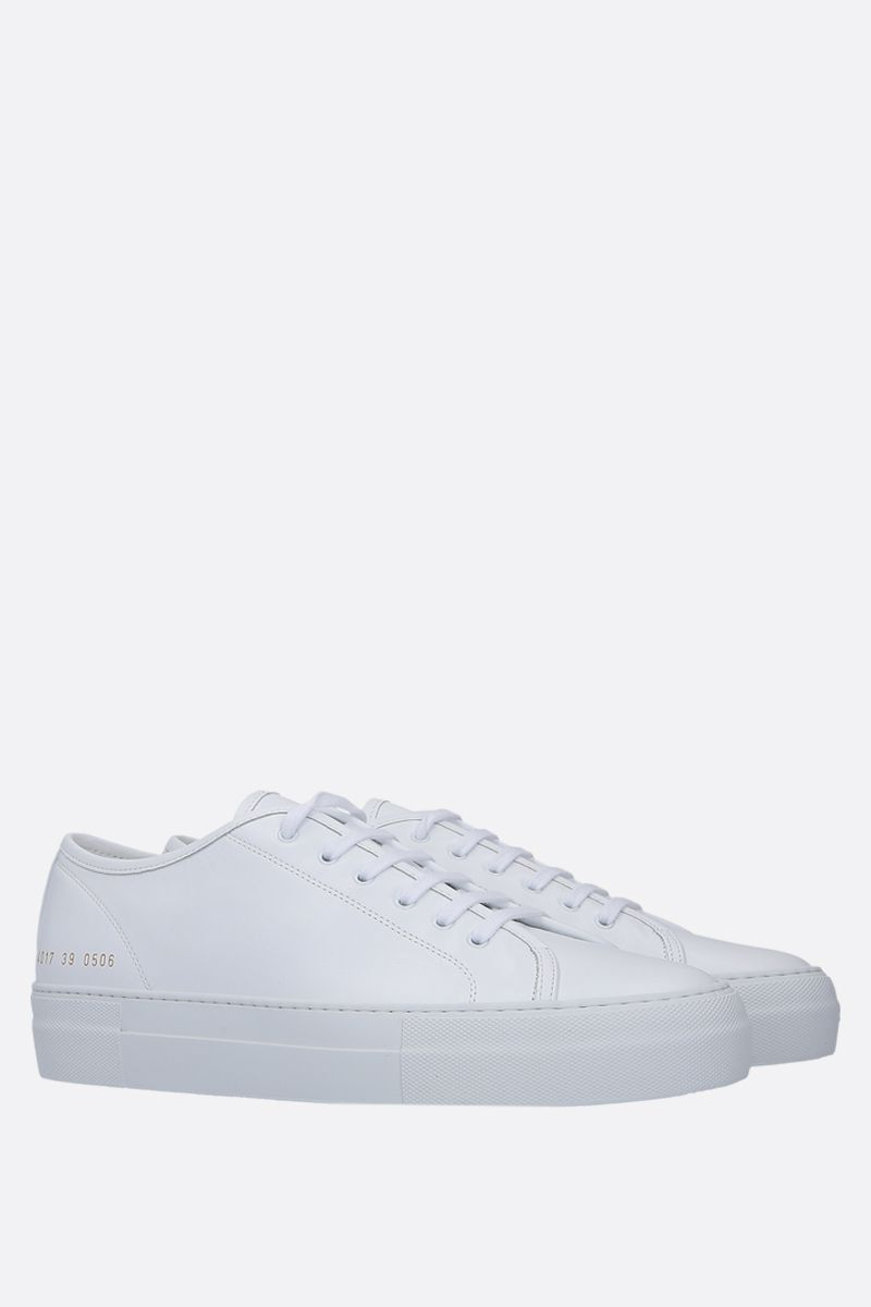COMMON PROJECTS: Tounament smooth leather flatform sneakers Color White_2