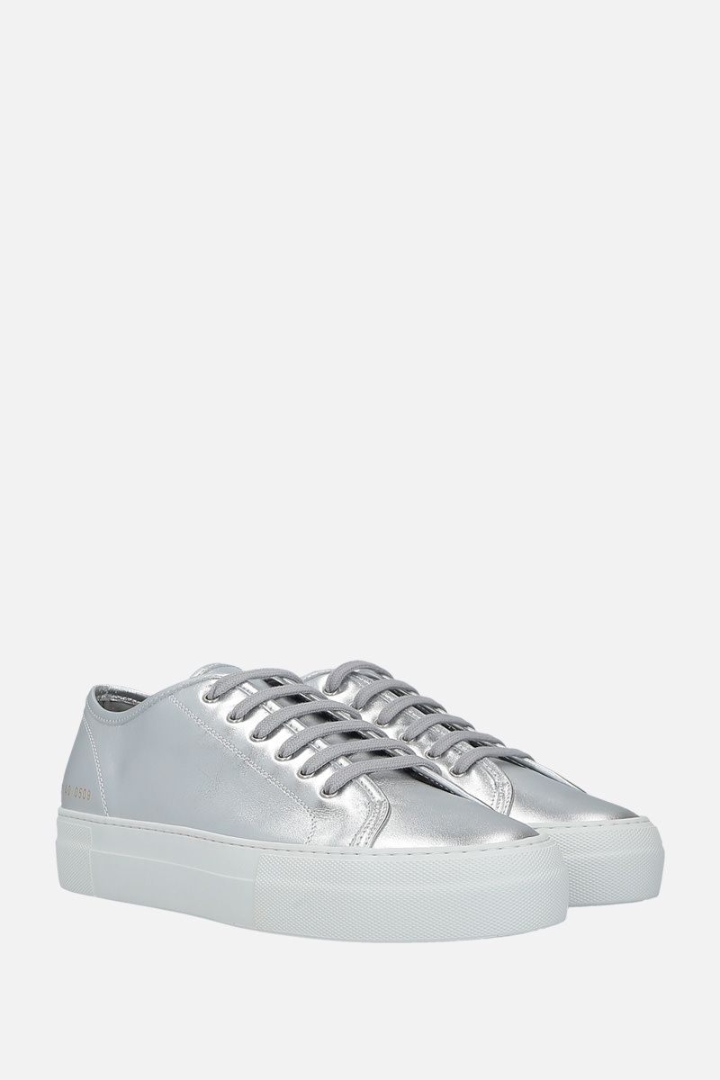 COMMON PROJECTS: Tournament laminated leather flatform sneakers_2
