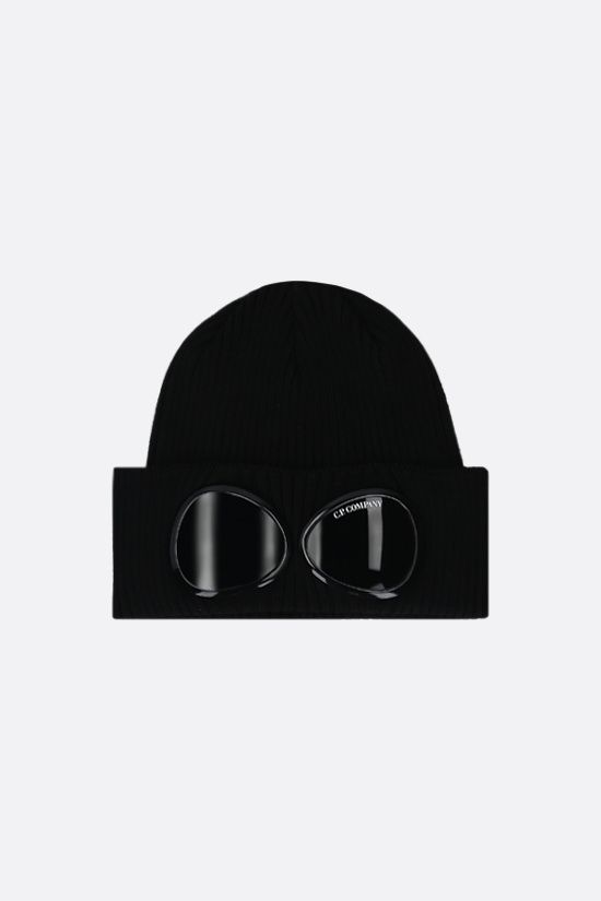 CP COMPANY: Goggle ribbed cotton beanie Color Black_1