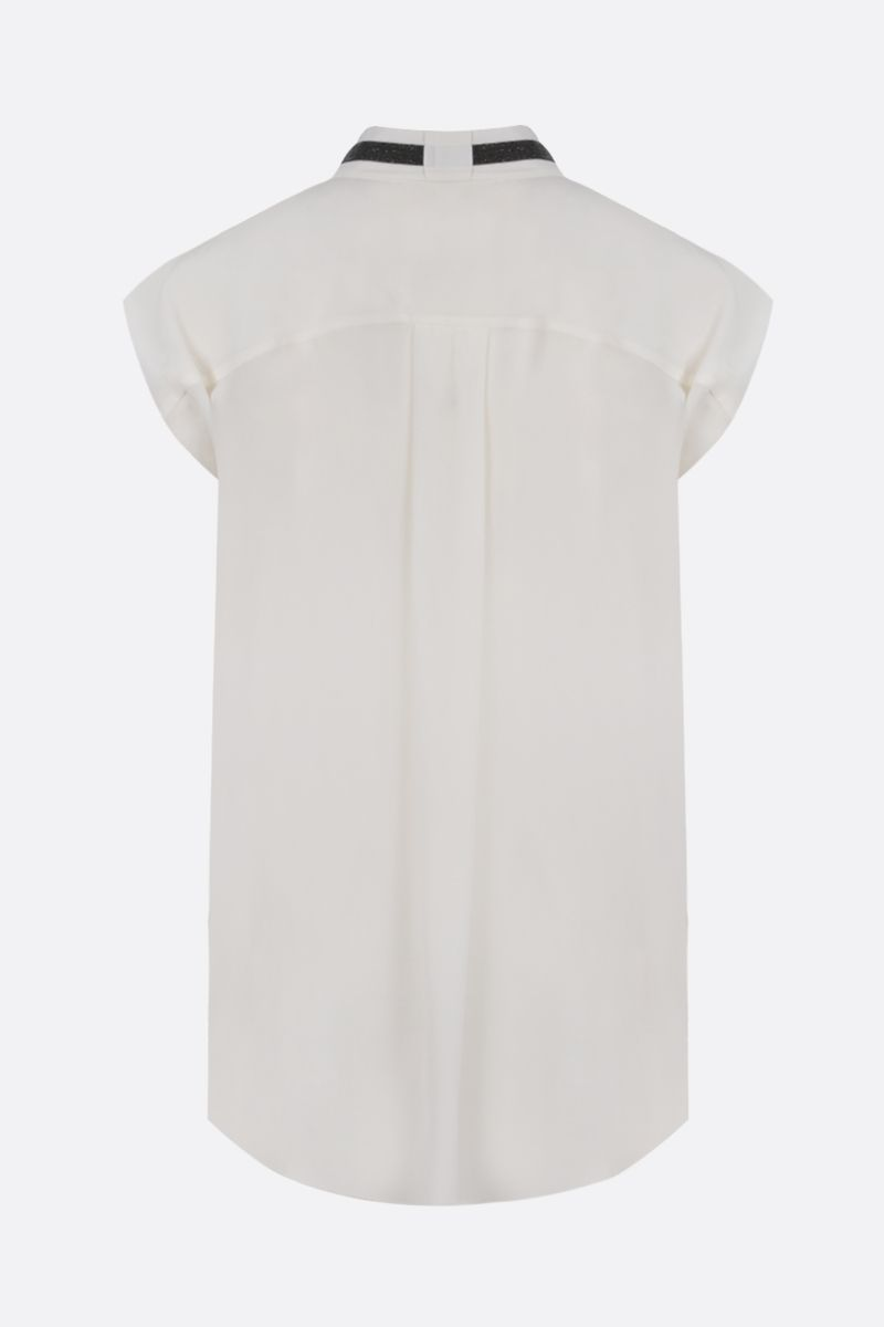 BRUNELLO CUCINELLI: monili-detailed silk sleeveless blouse Color Neutral_2
