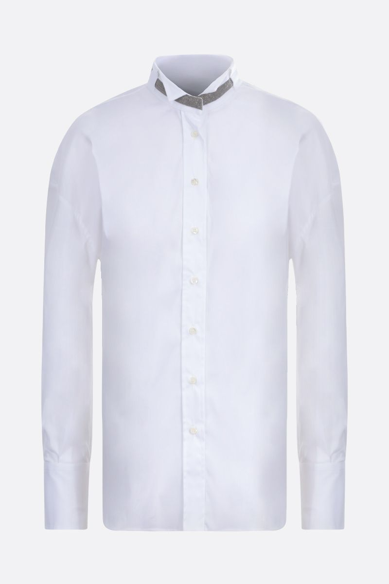 BRUNELLO CUCINELLI: monili-detailed stretch poplin shirt Color White_1