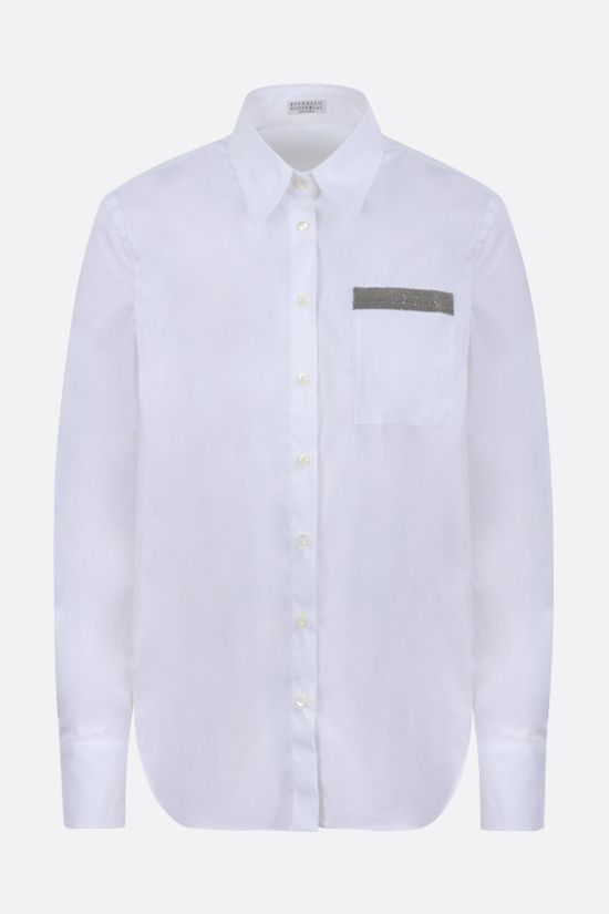 BRUNELLO CUCINELLI: monili-detailed stretch cotton shirt Color White_1