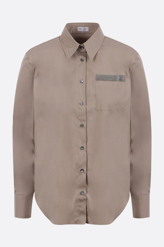BRUNELLO CUCINELLI: monili-detailed stretch cotton shirt Color Green_1