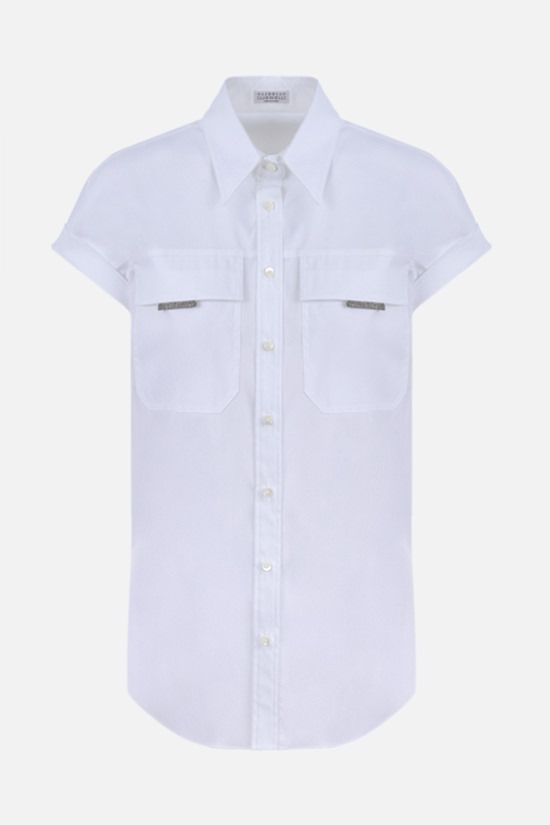 BRUNELLO CUCINELLI: monili-detailed cotton blend short-sleeved shirt Color White_1