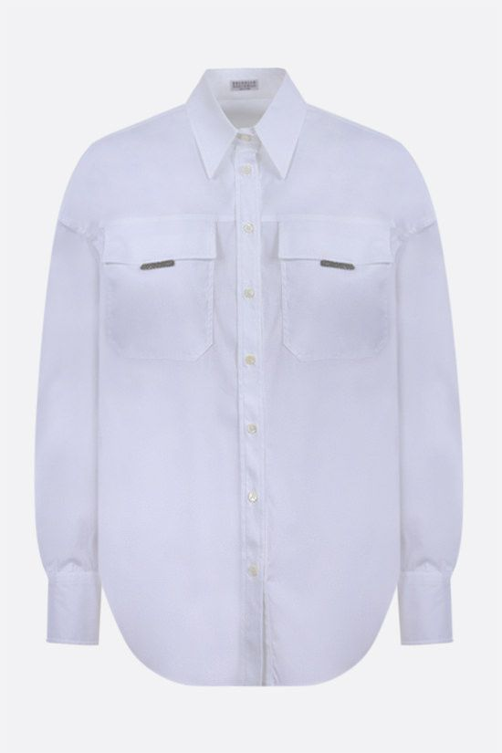 BRUNELLO CUCINELLI: monili-detailed cotton blend shirt Color White_1