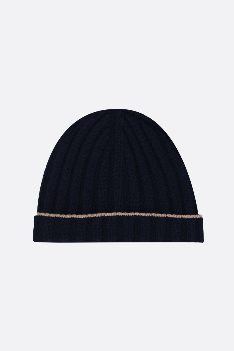 BRUNELLO CUCINELLI: rib knit cashmere beanie Color Blue_1