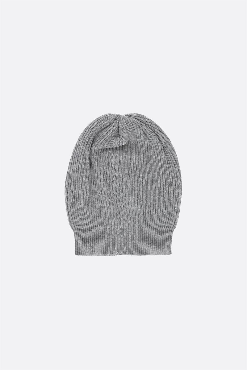 BRUNELLO CUCINELLI: sequinned cashmere, wool and lurex beanie Color Silver_1