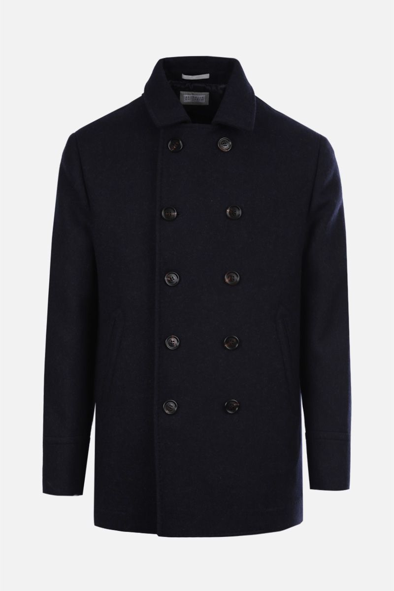 BRUNELLO CUCINELLI: wool double-breasted coat Color Blue_1
