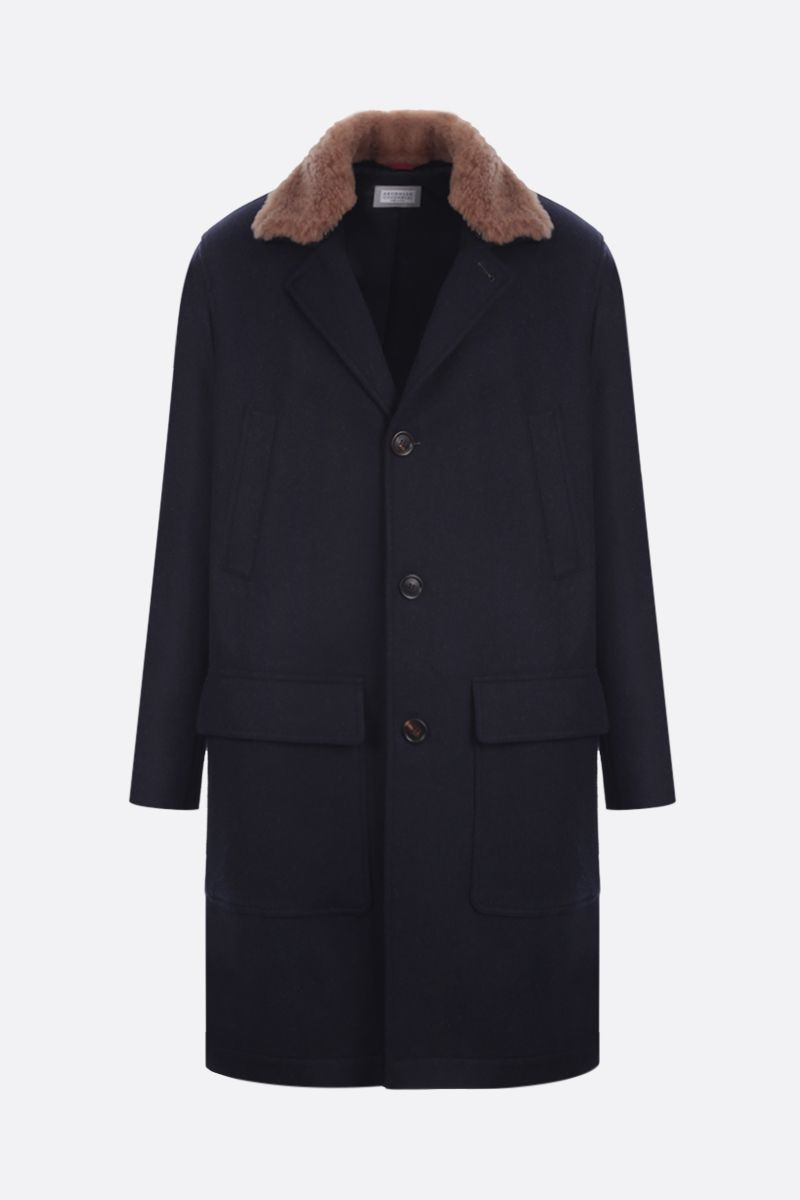 BRUNELLO CUCINELLI: shearling collar-detailed wool single-breasted coat Color Blue_1